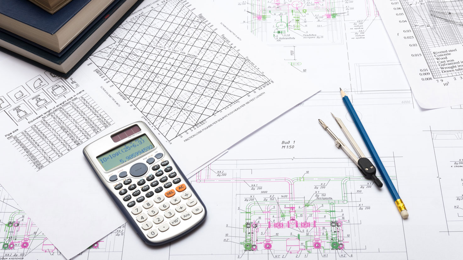 Architectural blueprints and calculator background.