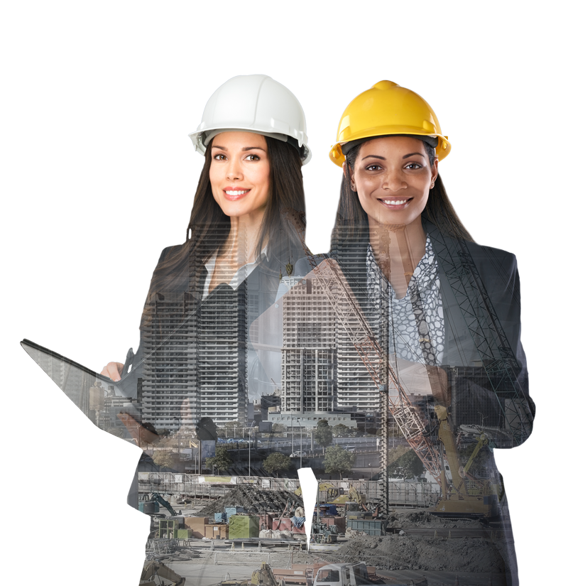 Two women in hardhats standing with clipboards.